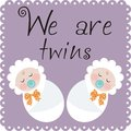 We are twins announcement of the birth of Royalty Free Stock Images