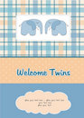 Twins baby shower card Royalty Free Stock Photo