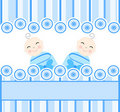 Twins boys on blue striped background Royalty Free Stock Image