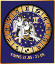 Twins boys zodiac sign horoscope circle retro illu two boy with wings sitting behind them are symbols of all signs golden and Stock Photo