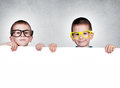 Twins brothers holding blank white space on gray background Royalty Free Stock Photography