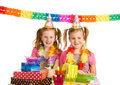 Twins celebrating birthday Stock Image
