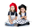 Twins children cook chef with food equipment Royalty Free Stock Photo