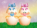 Twins in the eggs illustration of Royalty Free Stock Photography