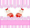 Twins girls on pink striped background Royalty Free Stock Images