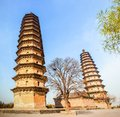 Twins pagodas the old landmark of taiyuan city they were built in ming dynasty chinese times a d are about m high Royalty Free Stock Photo