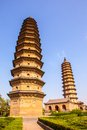 Twins pagodas the old landmark of taiyuan city they were built in ming dynasty chinese times a d are about m high Stock Photography