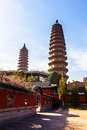 Twins pagodas the old landmark of taiyuan city they were built in ming dynasty chinese times a d are about m high Stock Image