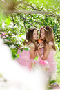 Twins in pink doll style Stock Photos