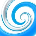 Twirled curve tube vortex as abstract background colorful made of blue and chrome metal glossy tubes on white Royalty Free Stock Image