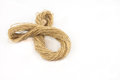 Twist brown ropes isolated on white background Royalty Free Stock Photos