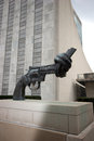 Twisted handgun statue at United Nations Plaza Royalty Free Stock Photo