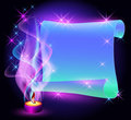 Twisted parchment and burning candle Royalty Free Stock Photo