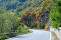 Twisted road in the mountains in the fall bulgaria Royalty Free Stock Images