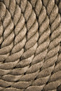 Twisted rope. Equipment on board sailing ship Royalty Free Stock Photo