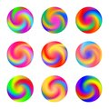 Twisted swirl rainbow color ball three dimensional set design element