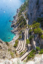 Twisty road on capri island mediterranean sae italy Royalty Free Stock Images