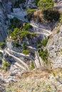 Twisty road on capri island mediterranean sae italy Stock Images