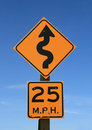 Twisty road sign Royalty Free Stock Photo