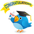 Twitter Bird Graduate Royalty Free Stock Photo