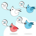 Twitter birds social network cartoon Royalty Free Stock Image
