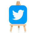 Twitter logo placed on wooden easel Royalty Free Stock Photo