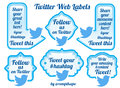 Twitter sharing labels and buttons useful to share your social contents via to cast your viral hashtags or to attract new Stock Photo