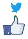 Twitter vogel het dalen op facebook Stock Afbeelding