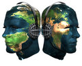Two 3D head with earth texture with headphones Royalty Free Stock Image
