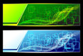 Two abstract banners backgrounds in green blue colors for advertising information Royalty Free Stock Image