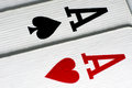 Two aces a pair of playing cards macro close up Stock Photo