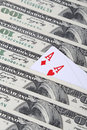 Two aces poker concept with cards and money Stock Photos