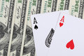 Two aces poker concept with cards and money Royalty Free Stock Images