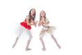 Two adorable ballet dancers isolated on white background Royalty Free Stock Photo