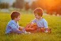 Dos chicos en hierba