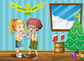 Two adorable kids exchanging their christmas gifts illustration of the Stock Photography