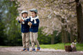 Two adorable preschool children, boy brothers, playing with litt Royalty Free Stock Photo