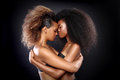 Two african american black women with big h beautiful stunning portrait of hair Royalty Free Stock Photo