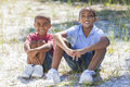 Two African American Boys Outside Stock Photos