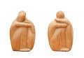 Two african statuette made of wood. Royalty Free Stock Photo