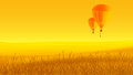 Two air balloons, ground and sunset. Royalty Free Stock Photo
