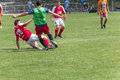 Two amateur football teams play on the field in outlying district of republic of moldova Stock Photo