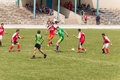 Two amateur football teams play on the field in outlying district of republic of moldova Royalty Free Stock Photography