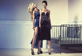 Two amazing women wearing the evening gowns ladies Royalty Free Stock Image