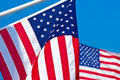 Two American flags. Royalty Free Stock Photo