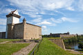 Two ancient fortresses on the parties from the river which is border narva estonia and ivangorod behind the river russia Stock Photos