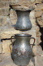 Two ancient metal Pots Royalty Free Stock Images