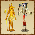 Two ancient symbols anubis figurine and pirate golden of the skeleton of a Stock Photo