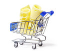 Two appetizing pieces of yellow cheese in shopping cart Stock Images