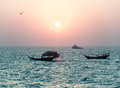 Two arabian fishing boats Royalty Free Stock Photo